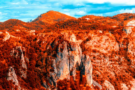 Mountain autumn landscape. Golden autumn in the mountains of Albania, Montenegro, Albania, Bosnia, Dinaric Alps Balkan Peninsula. can be used for postcards, banners, posters, posters, flyers, cards.