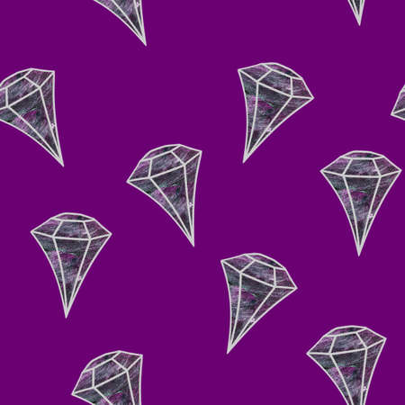 Gemstone pattern. Pale crystal on magenta background. Flat design gemstone. Pattern can be used as wrapping paper, background, fabric print, web page backdrop, wallpaper