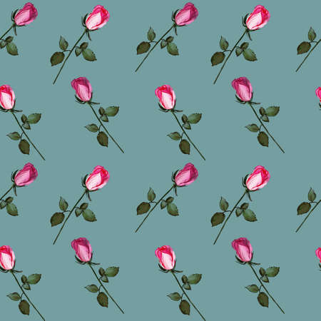 Floral seamless pattern made of roses. Acrilic painting with pink flower buds on pale background. Botanical illustration for fabric and textile, packaging, wallpaper, card.