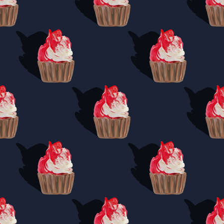 Deep blue Seamless pattern cupcakes silhouettes, muffin sweet white cake and red on top painted with gouache. Texture with sweets for desktop wallpaper or culinary blog website. junk food concept. Imagens
