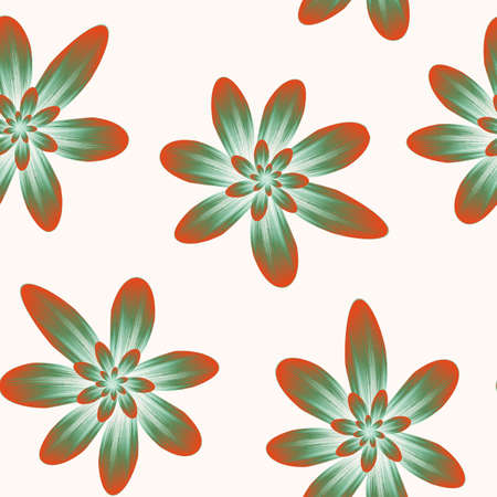 green and orange seamless repeat pattern with flowers on light background. drawn fabric, gift wrap, wall art design.
