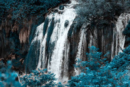 fantastic, fantastical, fanciful, mythical, romantic, chimericalKravice waterfall on the Trebizat River in Bosnia and Herzegovina. Miracle of Nature in Bosnia and Herzegovina. The Kravice waterfalls, originally known as the Kravica waterfalls