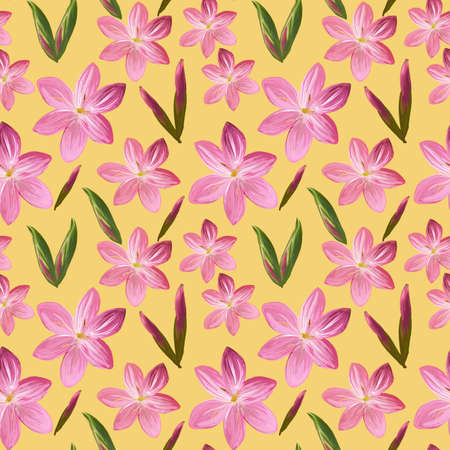 Floral seamless pattern made of flowers Acrilic painting with pink flower buds on yellow background. Botanical illustration for fabric and textile, packaging, wallpaper .. Stock fotó