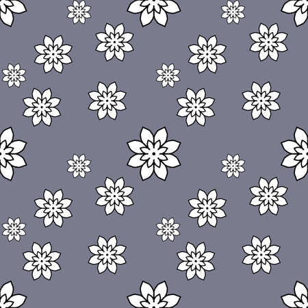 Seamless repeat pattern with white flowers on gray background. drawn fabric, gift wrap, wall art design, wrapping paper, background, fabric print, web page backdrop. Stock fotó