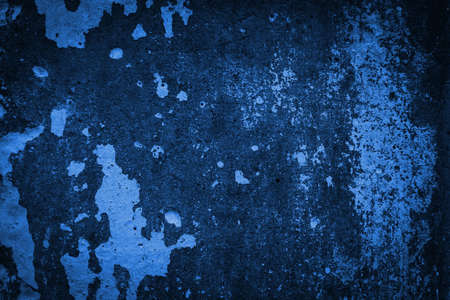 Texture of old grungy blue concrete wall for background, Copy space.