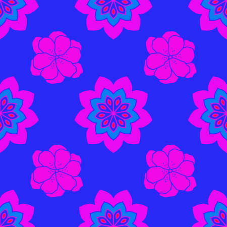 Seamless repeat pattern with pink flowers on blue background. For drawn fabric, gift wrap, wall art design, textile.