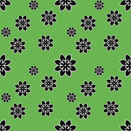 Seamless repeat pattern with black flowers on green background. drawn fabric, gift wrap, wall art design, wrapping paper, background, fabric print, web page backdrop. Stock fotó