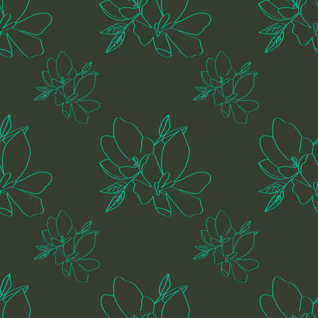Seamless background of lily green flowers. Lilies flowers on a khaki background. Can be used as wrapping paper, fabric print, web page backdrop, card, wallpaper. Stock fotó