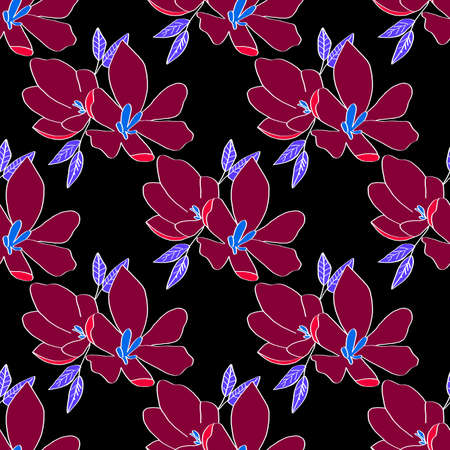 Seamless background of lily flowers. Lilies cherry flowers on a black background. Can be used as wrapping paper, fabric print, web page backdrop, card, wallpaper. Stock fotó