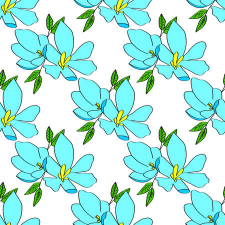 Seamless background of lily flowers. Lilies blue flowers on a white background. Can be used as wrapping paper, fabric print, web page backdrop, card, wallpaper. Stock fotó