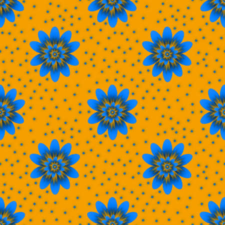 Seamless repeat pattern with blue flowers on yellow background. For drawn fabric, gift wrap, wall art design. Stock fotó