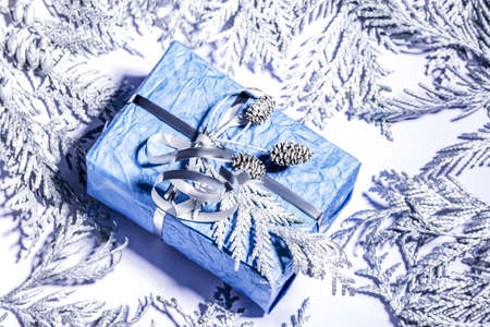 Christmas composition. Homemade gift, Christmas present box wrapped in blue paper, decorated silver thuja branches, small silver cone, Selective focus