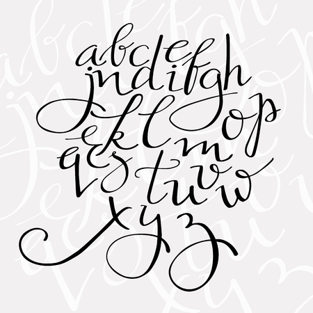 flourish script alphabet, elegant swirl font for menu or wedding invitation titles