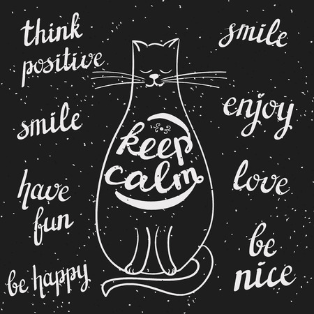 chalkboard styled cat with positive calligraphic messages: keep calm, think positive, smile, have fun, enjoy, be nice lettering Vectores