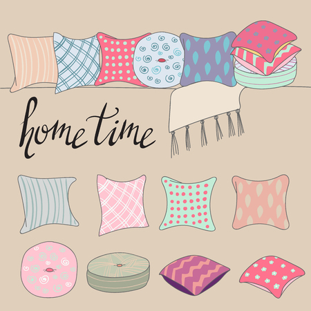 cushions: colored pillows or cushions for home interior design combination Illustration
