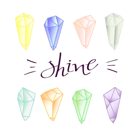 to shine: colored mineral crystals designe elements shine stones