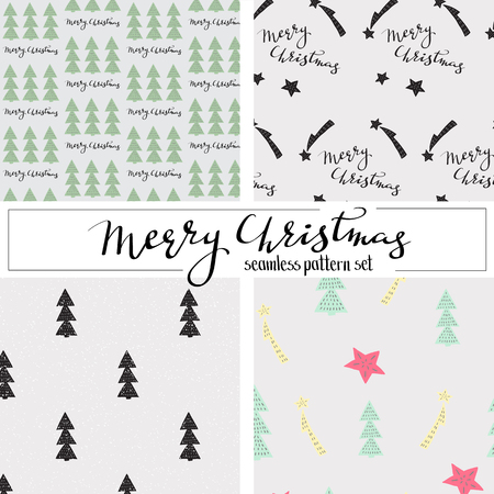christmas seamless pattern: christmas seamless pattern set hand drawn style with calligraphy lettering elements