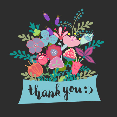 lettering thank you flowers modern calligraphy postcard Vectores
