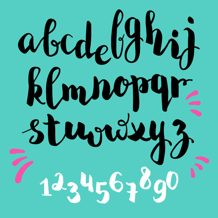 brushpen style vector alphabet calligraphy lowcase letters and figures