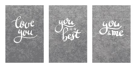 velvet texture: brush pen modern custom calligraphy letterig, love message, love you, you are the best, you and me postcard velvet texture