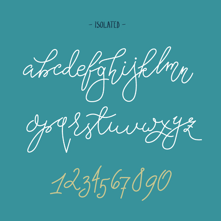 Vector handwritten pointed pen font isolated letters and figures modern calligraphy ink pen alphabet