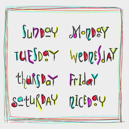 week: Handwritten week days modern calligraphy kids lettering. Doodles style colorful for new graphic design. Isolated