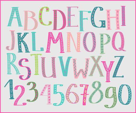 reading: Doodle colorful kids alphabet