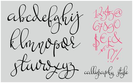Handwritten pointed pen flourish font