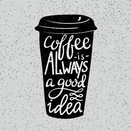 etiqueta: Cita estilo de la caligraf�a moderna sobre el caf�.