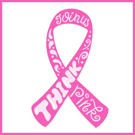 cancer de mama: Dibujado a mano cinta rosa del cáncer de mama