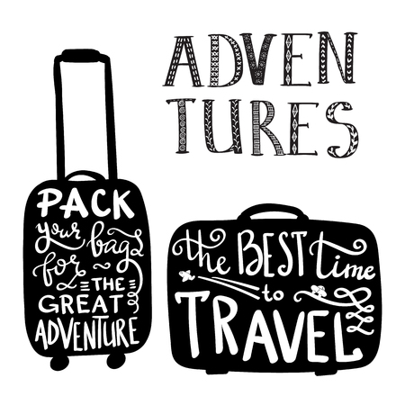 Travel inspiration quotes on suitcase silhouette Vectores