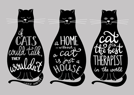 Cat quotes calligraphy lettering set on blask cats silhouette