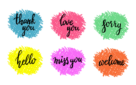 miss you: Hand written calligraphy style short messages set