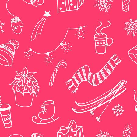 winter fun: Winter doodles hand drawn seamless pattern  Illustration