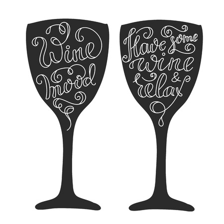 Quotes about wine on wine glass silhouette calligraphy style