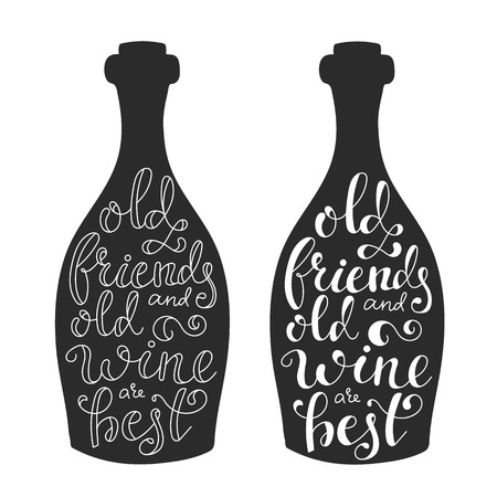 bottle wine: Quotes about wine on wine bottle silhouette calligraphy style Illustration