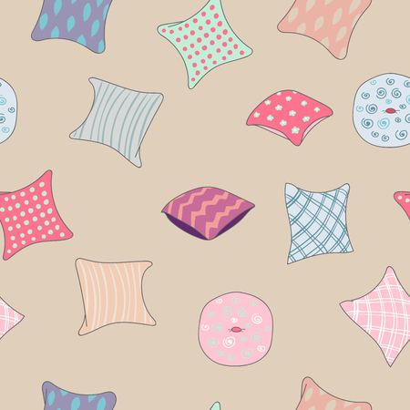 interior design home: Colored pillows cushions seamless pattern for home interior design combination Illustration