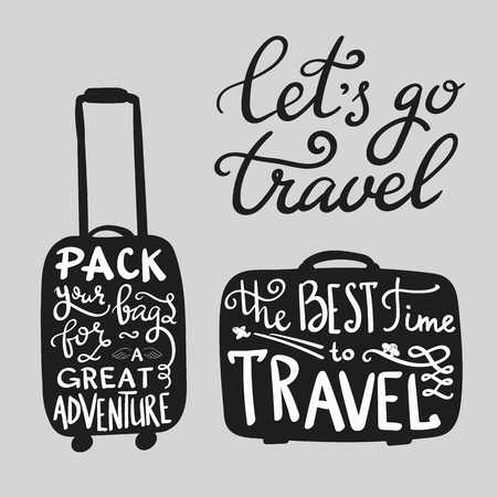 adventure holiday: Travel inspiration quotes on suitcase silhouette Illustration