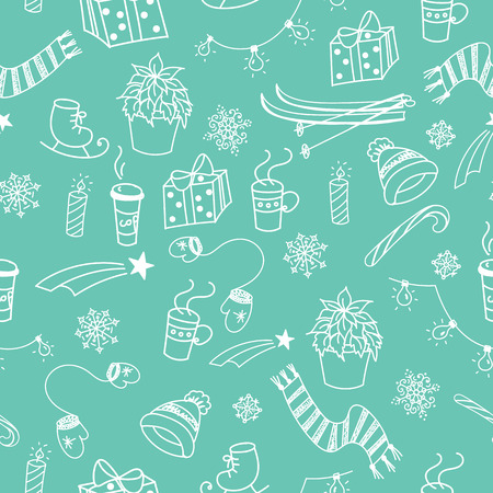 Winter doodles hand drawn seamless pattern about winter sports