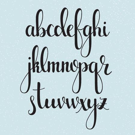 浪漫: 手寫毛筆風格的現代書法草書字體。書法字母表。可愛的書法字母。孤立的字母。對於明信片或海報裝飾圖形設計。