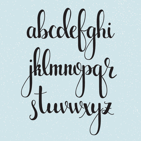 cute: Handwritten brush style modern calligraphy cursive font. Calligraphy alphabet. Cute calligraphy letters. Isolated letters. For postcard or poster decorative graphic design.
