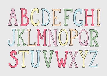 stroked: Doodle colorful alphabet, vector simple hand drawn letters. Colorful thin stroked letters. Decorative font for books, posters, postcard, web hand drawn style typography or kids design.