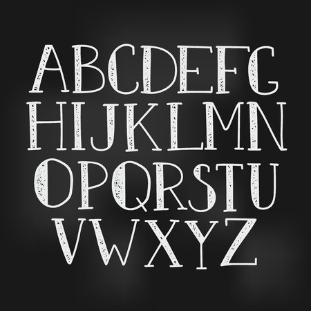 typography vector: Doodle alphabet, vector simple hand drawn letters thin serif textured font on chalk board texture. Decorative font for books, posters, postcard, web hand drawn style typography.