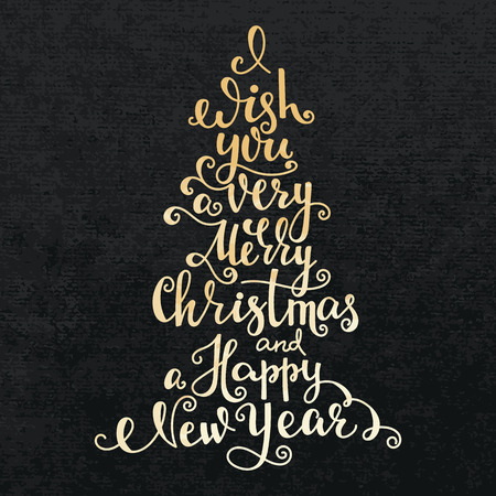 gold christmas background: Merry Christmas Happy New Year lettering modern calligraphy gold on black velvet paper background card, vector typography