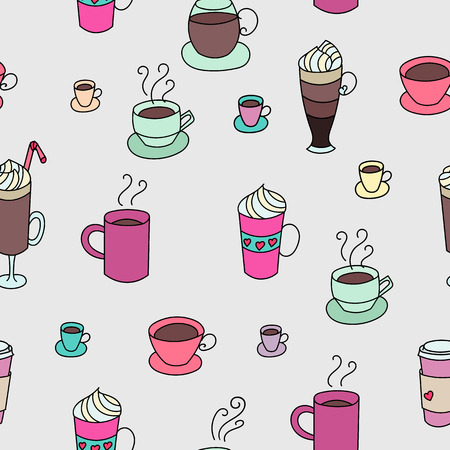 Coffee cups colorful cute seamless vector pattern. Hand drawn coffee cups set for textile or wrapping paper postcard poster graphic design for coffee shops. Super cute coffee cups.