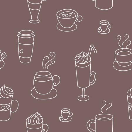 graphic pattern: Coffee cups cute seamless vector pattern. Hand drawn coffee cups set for textile or wrapping paper postcard poster graphic design for coffee shops. Super cute coffee cups.