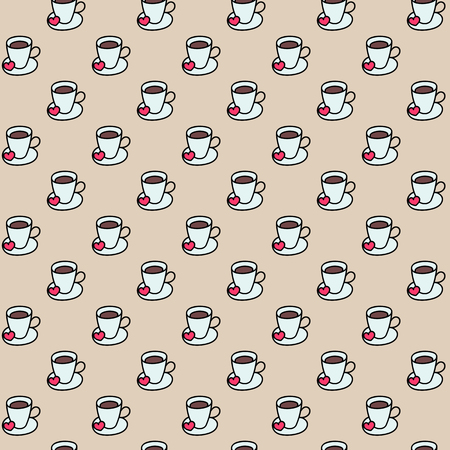 cute graphic: Coffee cups colorful cute seamless vector pattern. Hand drawn coffee cups set for textile or wrapping paper postcard poster graphic design for coffee shops. Super cute coffee cups.