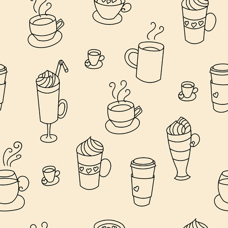 cute graphic: Coffee cups cute seamless pattern. Hand drawn coffee cups set for textile or wrapping paper postcard poster graphic design for coffee shops. Super cute coffee cups.