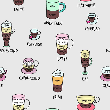 mocca: Coffee types colorful cute vector seamless pattern. Hand drawn coffee types set pattern for wpapping paper, banner, poster, menu graphic design for coffee shops. Espresso cappuccino americano mocca