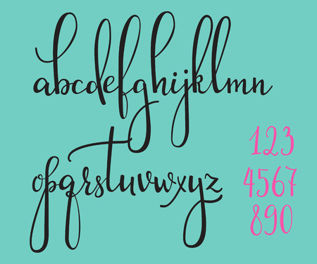 calligraphy: Handwritten pointed pen ink style modern calligraphy cursive font. Calligraphy alphabet. Cute calligraphy letters and figures. Isolated letter elements. Typography, decorative graphic design. Illustration